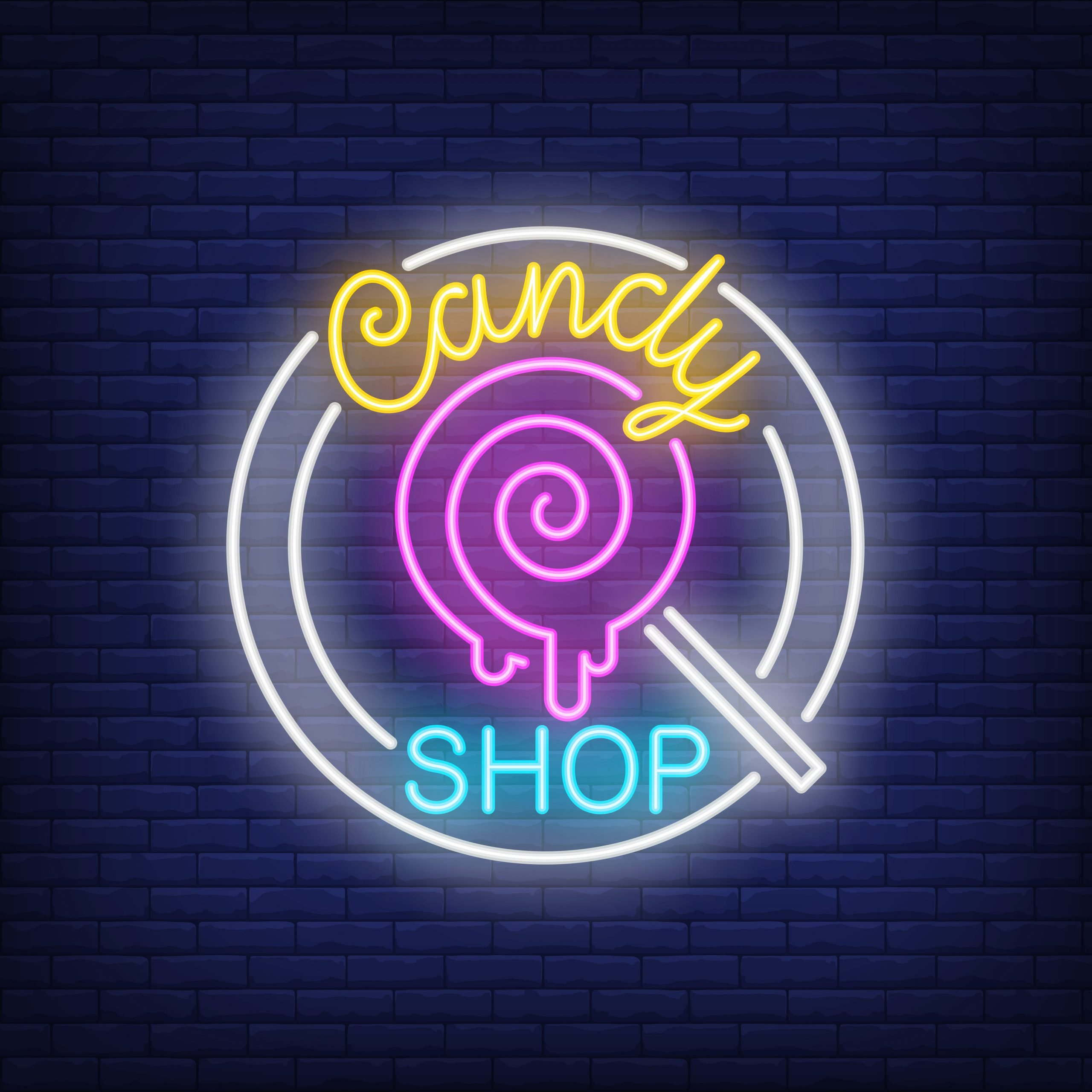 Candy shop neon sign. Pin-up lollipop on stick in circle on brick wall. Night bright advertisement. Vector illustration in neon style for cafe and confectionery